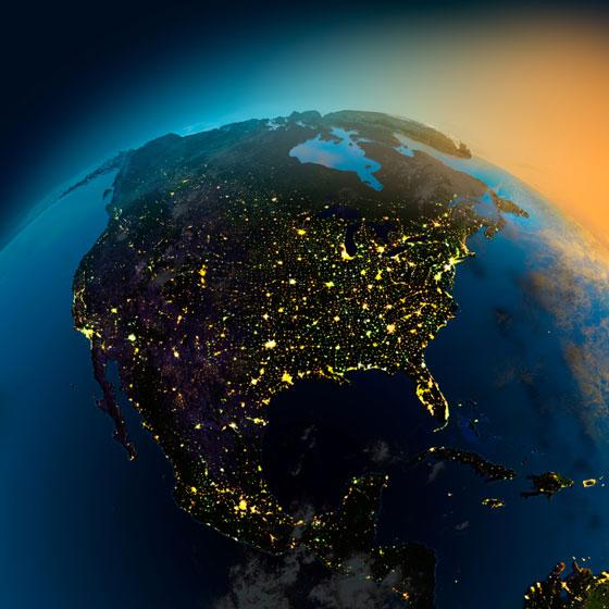 north america at night - satellite view